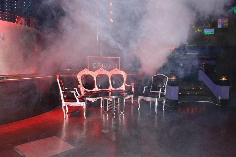 dramatic seating and furniture at crown nightclub at Rio Las Vegas