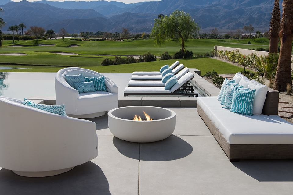 Luxurious desert backyard featuring custom outdoor furniture.