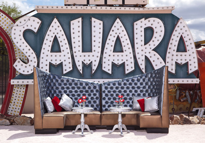 rental seating and furniture in from of the old Sahara sign in Las Vegas