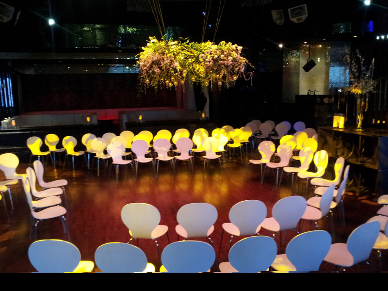 minimalist and modern rental furniture for a wedding at SHE Nightclub at Aria Las Vegas