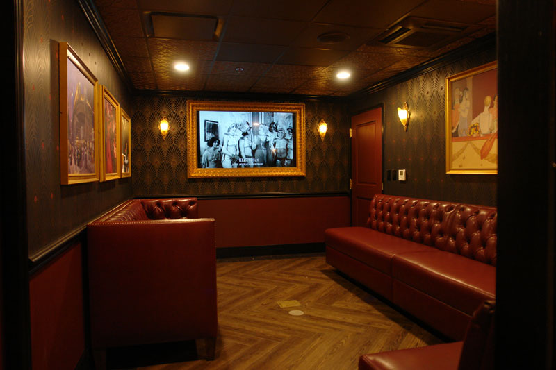 custom seating and furniture at the Mob Museum VIP room in Las Vegas