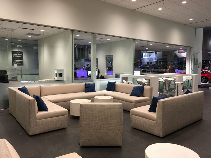 luxurious rental furniture for a VIP fundraiser at Gaudin Porsche Las Vegas