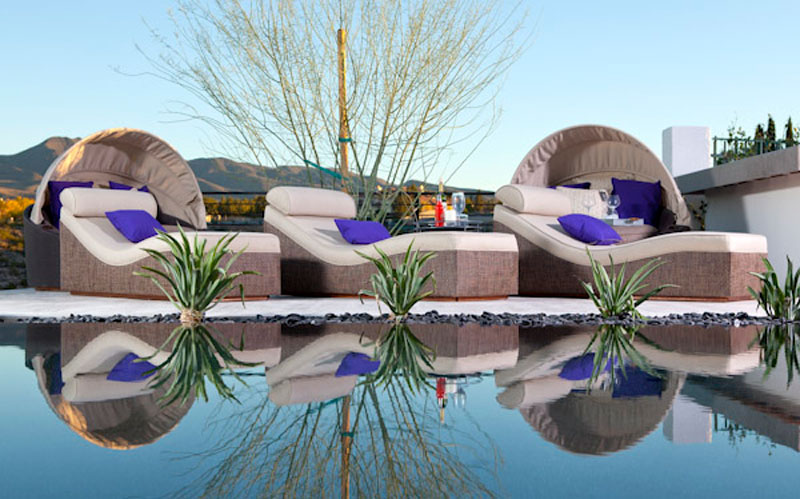 beautiful custom poolside seating and furniture for a Las Vegas residence