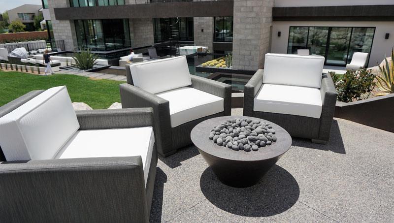 sophisticated custom poolside seating and furniture for a Las Vegas residence