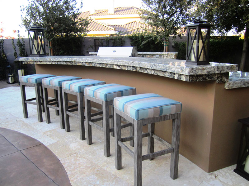 custom outdoor dining furniture at Las Vegas residence