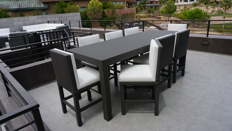 comfortable custom dining furniture at Las Vegas residence