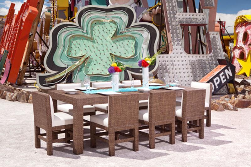 custom dining furniture and seating displayed at Neon Museum in Las Vegas