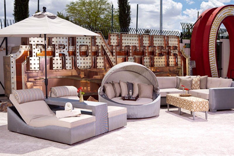 minimalist custom rental furniture and seating at Neon Museum Las Vegas