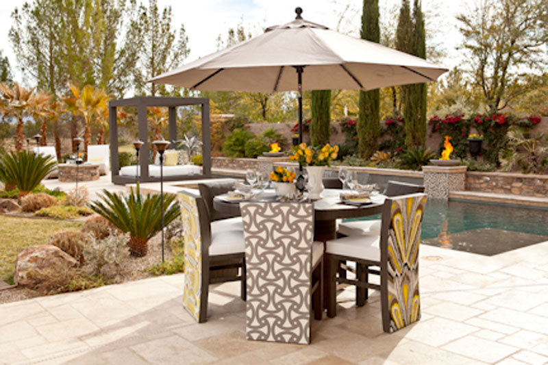 comfortable custom outdoor dining furniture at Southern Highlands Las Vegas