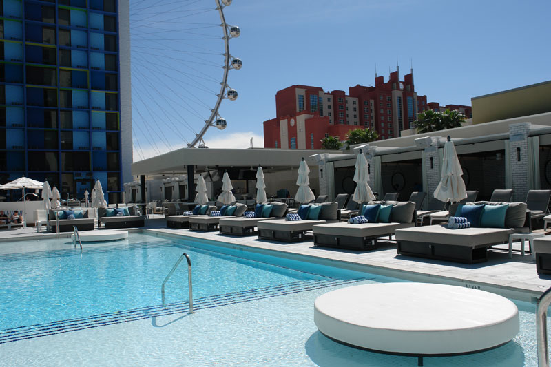 completely custom poolside furniture for the Linq Las Vegas