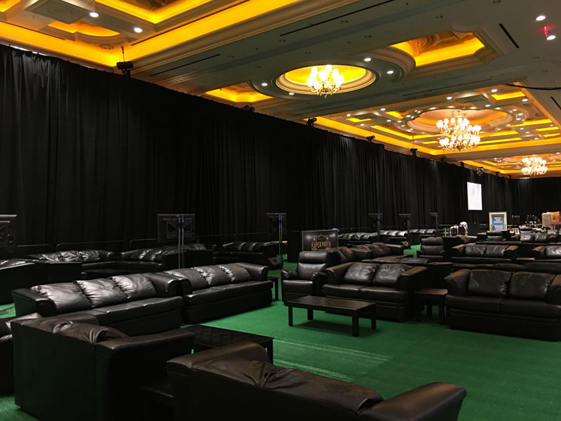 bold commercial rental furniture for a sports viewing event at Venetian Las Vegas