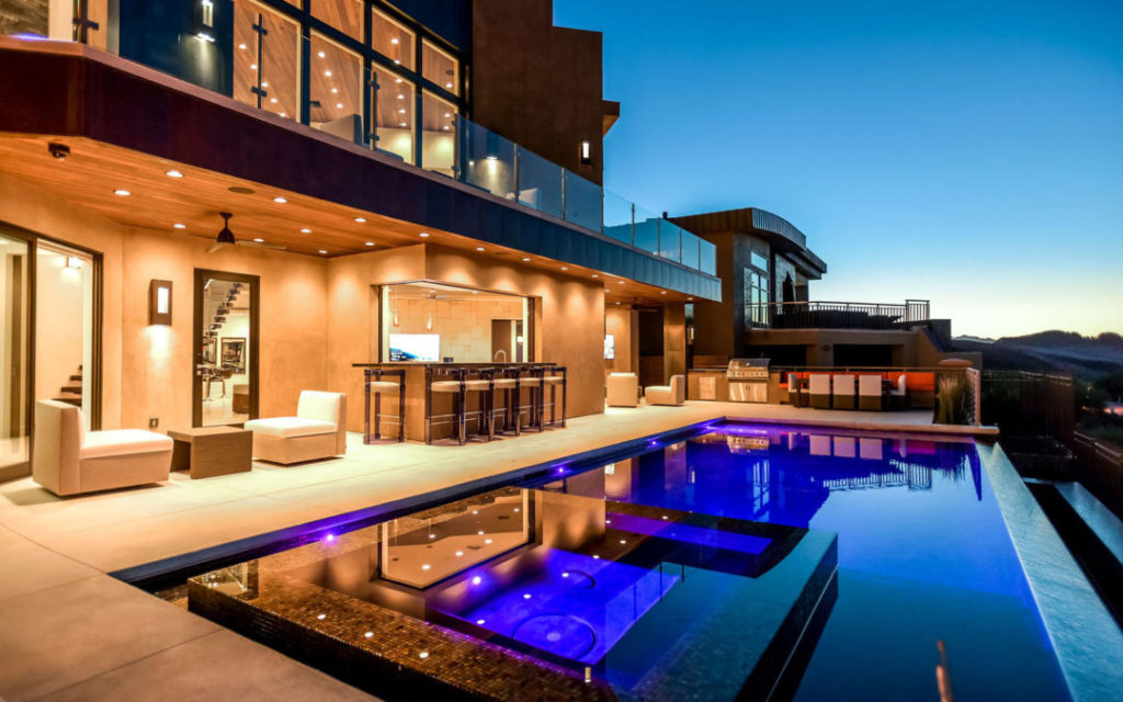 poolside custom furniture at Las Vegas residence