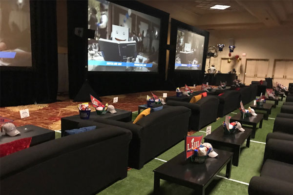 Football Sports Viewing Party Rental Furniture at Trapicana in Las Vegas