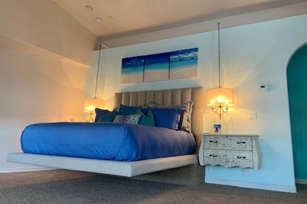 Custom floating bed and headboard by Somers Furniture