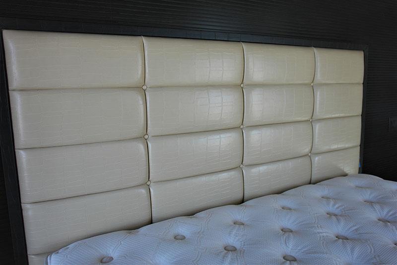 custom upholstered vegan leather headboard