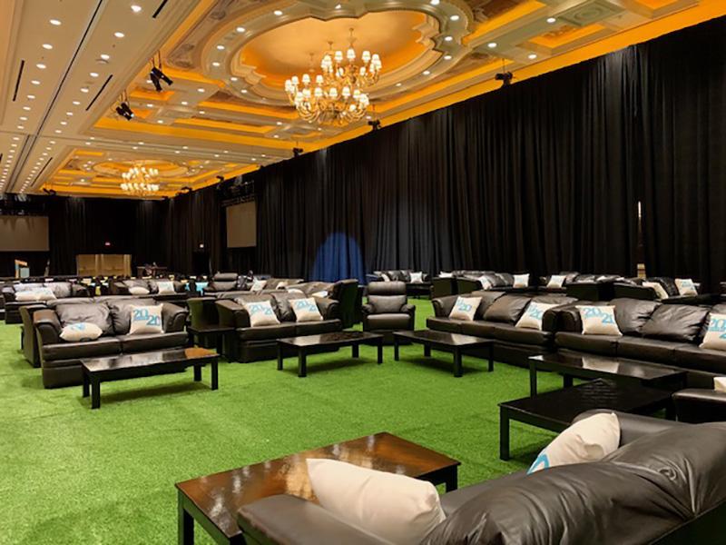 Venetian VVIP Big Game 2020 rental furniture install by Somers Furniture