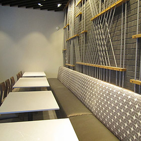 wall to wall banquette seating in Las Vegas restaurant