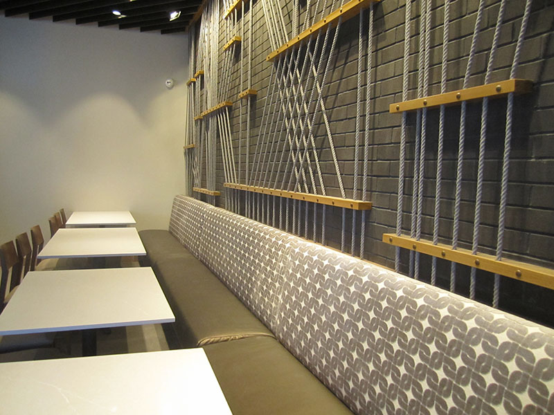 straight back wall to wall banquette dining seating in Las Vegas restaurant