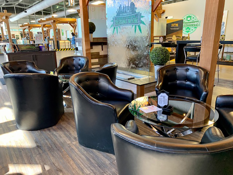 black vegan leather chairs around glass chrome cocktail tables at NuWu from somers rental division in las vegas