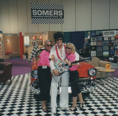 Somers with Elvis impersonator at convention