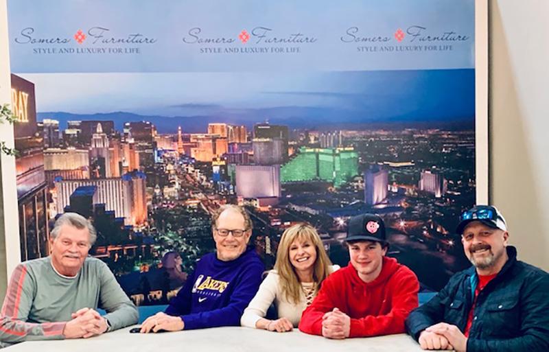 Las Vegas Strip background wall with custom logo for talk show setting
