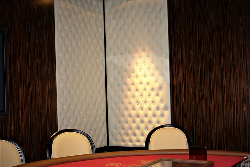 Custom Built Tufted Upholstered acoustic Wall Panels for sportsbook in las vegas