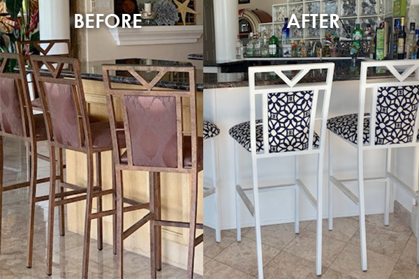repaired and updated barstools before and after