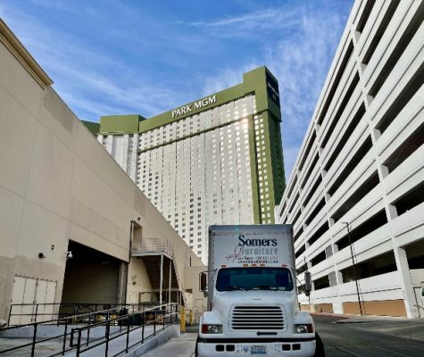 Somers Furniture truck leaving casino dock after delivering rental furniture for the Big Game viewing party in Las Vegas