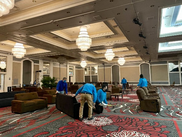 Somers Furniture team setting up rental furniture for socially distant event in Las Vegas