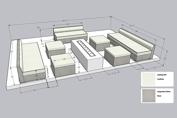 cad drawing of custom furniture in outdoor space with color swatches