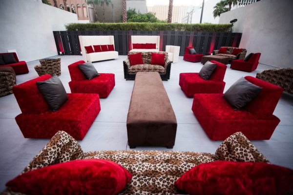 rental furniture and seating for an outdoor Las Vegas wedding