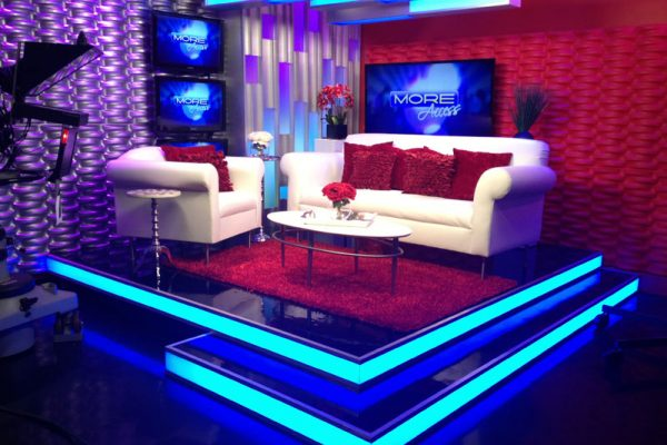 camera-ready rental furniture at a set for Fox 5 More show