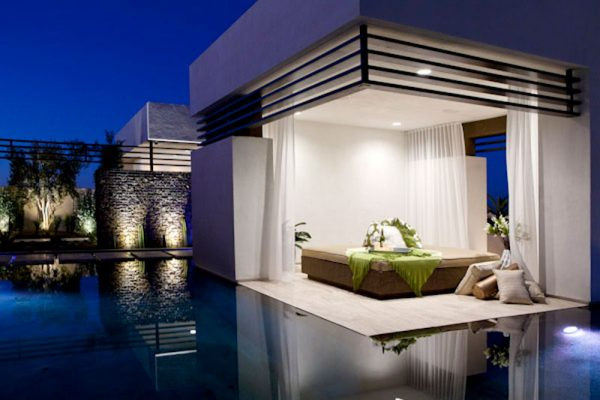 customized outdoor bedroom for luxurious Las Vegas residence