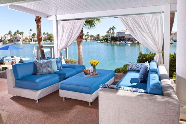 comfortable custom poolside furniture at The Lakes Las Vegas