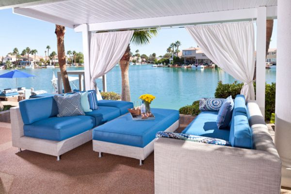 comfortable custom poolside furniture at The Lakes Las Vegas