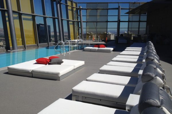 custom poolside furniture made for Veer Pool in City Center Las Vegas